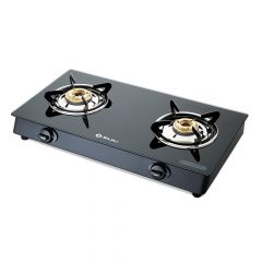 Bajaj 2BR GP6 Eco Cook Top 2 Burner Stainless Steel Glass Gas Stove with Stainless Steel Drip Tray   Toughened Glass-top   Heavy Brass Burners   Charcoal Black Powder Coated Finish (Black)