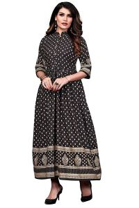 FVD Fashion Valley Dresses Fashionable and Designer Rayon Foil Print Round Neck Full Stitched Long Gown for Women & Girls