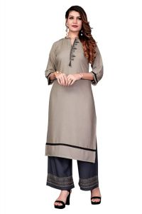 FVD Fashion Valley Dresses Fashionable and Designer Rayon Printed Top Embroidery Work Kurti Palazzo for Girl's & Women's