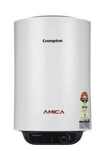 Crompton ASWH-2025 Amica 25 Liter 5 Star Rated Energy Efficient Storage Water Heater with Powerful Heating Element | 8 Bar Pressure | Powder Coated Metal Body | Energy Saving Insitu Puf | Smart Energy Management (Black & White)