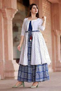Beautiful Indian Long Kurti with Shrug Printed Bollywood Design Kurti