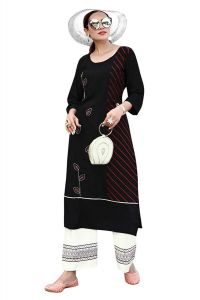 Fashion Valley Dresses Designer Heavy Rayon Print Straight Kurti Embroidery Work with Palazzo Set for Girl's & Women's