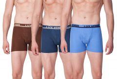 LUX VENUS 100 Percent Cotton Plain Boxers Perfect For Men's (Pack of 3)