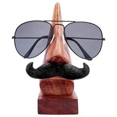 Handmade Wooden Nose Shaped Spectacle Specs Eyeglass Holder Stand with Moustache (Material: Wood)
