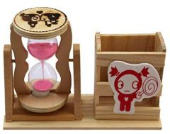 Wooden Pen Stand With One Minute Send Timer Desk Decor Assorted (500 Gm)