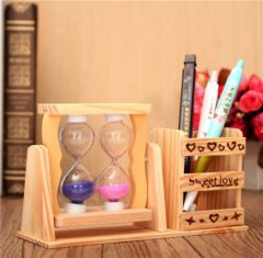 Wooden Two Hourglass Timer Pen Stand|Pencil Stand For Office (Color: Brown)