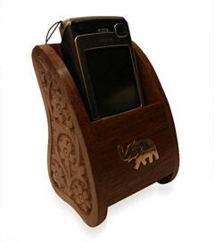 Wooden Hand Carved Mobile Holder woooden gift items premium quality mobile holder (5 x 3 Inches)