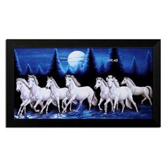 LION CRAFT 7 Horse Photo Laminated Frame (Frame Color Black, Print size-12x24 inch) Genuine Material-NO-10