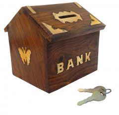 Wooden Handicrafted Money Bank Large Piggy Bank Hom Decor Coin Box For Kids And Adults