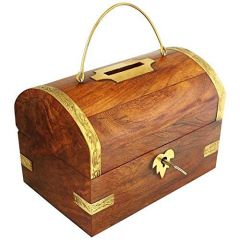 Handicrafted Wooden Money Bank Big Piggy Coin Box Gifts Made with high durable quality Wood that gives you assurance of stability of item