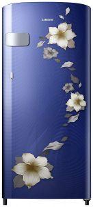 Samsung 192 Liters Stylish Crown Door Design & Runs On Home Inverter Direct Cool Refrigerator with Freezer Room | Deep Door Guard | Anti Bacterial Gasket | Toughened Glass (Blue)