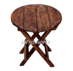 Beautiful Wooden Folding Side Table Made with Premium Quality Wood ( Color: Brown)