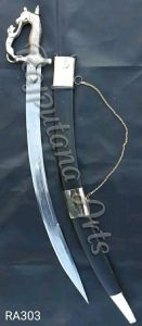 Maratha Sword Black Leather Cover With Brass Clips On Body Flaunts Traditional Indian Look