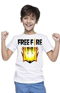 Kids Classic Fit Free Fire Printed T-shirts for Regular Wear (Color: White)