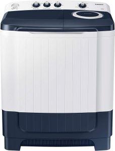 Samsung WT85R4200LL/TL 8.5 Kg Semi-Automatic 5 Star Top Loading Washing Machine with Magic Filter | Air Turbo | Castor Wheel (White & Dark Blue)