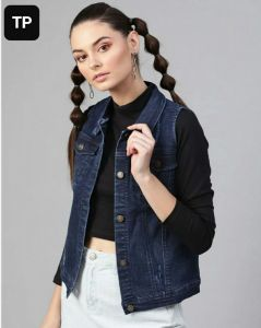 Women's Regular Fit without Sleeves Solid Bomber Denim Jacket