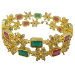 Whoz She Fashions Traditional Designer Trendy Closed Fitted Stones Bangles Sets (Multicolor)