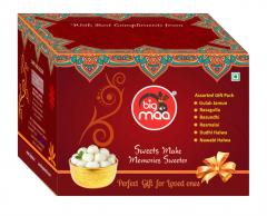 Big Maa Assorted Indian Sweets Gift Box Combo Pack of Gulab Jamun, Rasgulla, Basundhi, Rasmalai, Dudhi Halwa, Navabi Halwa (Pack of 6)