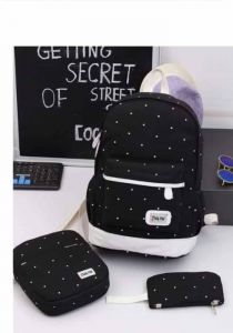 Canvas Leisure Backpack Three-Piece Female Bag With Small Fresh And Large Capacity Student School Bag Polka Dot Backpack