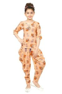 The Crown Designer Printed Cotton Linen Blend Top and Bellon Pant for Girls (Orange)