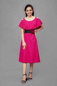 Disney Princess Summer Wear Midi | Knee Length Casual Cut-Out Dress for Girls (Pink)