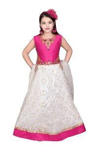 Girls Embroidered Lehenga Choli Set of Net Fabric (Pink and White) (Pack of 1)