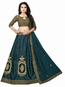 Embroidered Attractive Party Wear Silk Material With Stone Work Lehenga  With Matching Color Unstiched Blouse (Drasty Green)