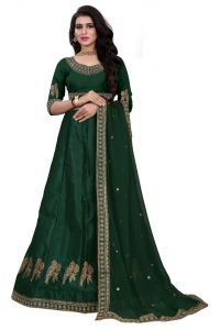 Blouse Embroidered Attractive Party Wear Lehenga Choli With Matching Color Unstitched Blouse (Color: Dark Green)