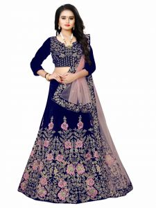 Womens Colored Blouse Embroidered Attractive Party Wear Lehenga Choli  With Matching Color Unstitched Blouse (Levish Blue)