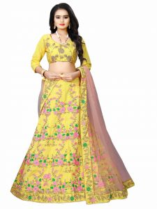 Embroidered Blouse Attractive Party Wear Lehenga Choli  With Matching Color Unstitched Blouse (Yellow)