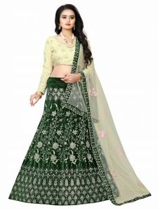 Embroidered & Attractive  Blouse Party Wear Lehenga Choli  With Matching Color Unstitched Blouse (Levish Green)