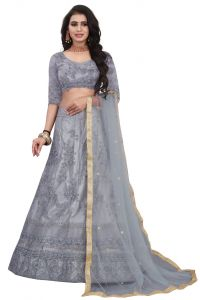 Embroidered Attractive Blouse Party Wear Lehenga Choli  With Matching Color Unstitched Blouse (Color: Grey)
