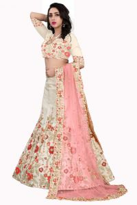 Blouse Embroidered Attractive Party Wear Lehenga Choli With Matching Color Unstiched Blouse Malai Satin Fabric (Color: Cream)