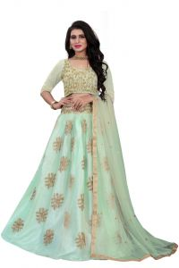Blouse Embroidered Attractive Party Wear Lehenga Choli  With Matching Color Unstitched Blouse (Color: Levish Green)