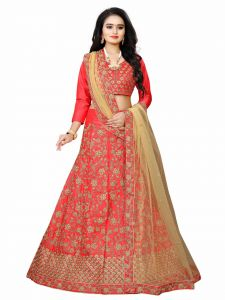 Bridal Red Colored Blouse Embroidered Lehenga Choli With Matching Color Unstitched Blouse Attractive (Occasion: Party Wear) (Color: Red)