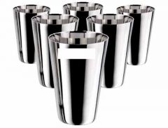 Stainless Steel 350 ml  Glass Water Milk Lassi Tumbler Glass (Pack of 6)