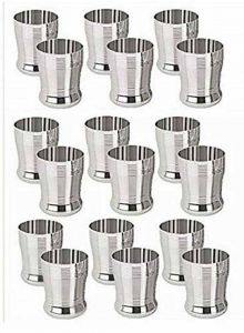 Stainless Steel Water Juice Glasses Set (Capacity: 250 ml) (Color: Silver) (Pack of 18)