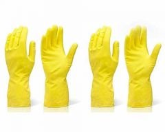Reusable Stretchable Rubber Hand Gloves for Washing Cleaning Kitchen & Garden (Color: Yellow) (2-Pair)