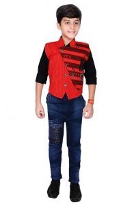 Ethnic Wear Waistcoat, Shirt & Pant of Cotton Blend Fabric for Boys (Pack of 1)