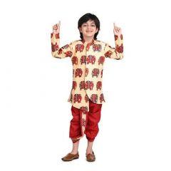 Hathi Print Dhoti & Sherwani of Silk Blend Fabric Ideal for Boys (Pack of 1)