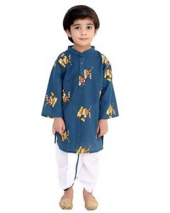 Dholak Printed Dhoti & Full Sleeve Kurta of Cotton Fabric Prime for Kids (Pack of 1) (Turquoise & White)