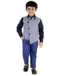 Suit Set with Bow, Shirt, Trousers & Waistcoat for Kids (Pack of 1)