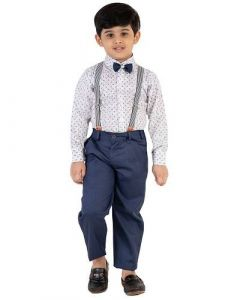 Ethnic Wear Suit Set with Bow, Shirt & Trousers Best for Kids (Pack of 1)