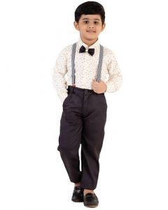 Cotton Blend Fabric Suit with Bow, Shirt & Trousers Best for Kids (Pack of 1)-GOA-213
