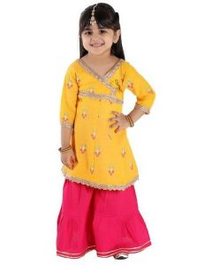 Anarkali Kurti & Sharara Set of Cotton Fabric for Girls (Multicolor) (Pack of 1)
