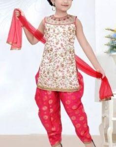 Patiala Salwar Kameez of Silk Fabric for Girls (Multicolor) (Pack of 1)