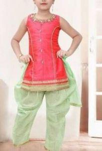 Patiala Salwar Kameez of Silk Fabric Best for Girls (Multicolor) (Pack of 1)