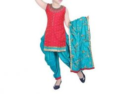 Patiala Salwar Kameez of Silk Fabric Ideal for Girls (Multicolor) (Pack of 1)