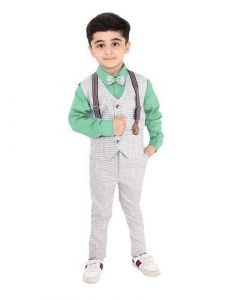 Suit Set with Shirt, Trouser, Bow & Gallace Waistcoat for Kids (Multicolor) (Pack of 1)