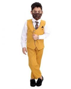 Suit Set with Shirt, Trouser, Bow, Waistcoat & Face Mask for Kids (Multicolor) (Pack of 1)
